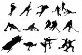 stock photo of discipline  - silhouette of people winter sport hockey skater - JPG