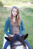 stock photo of bareback  - A teenager bareback on an icelandic horse