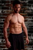 stock photo of weight lifter  - Male model looking mean and dangerous with a brick dark background - JPG