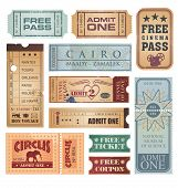 image of amusement  - Set of retro tickets on old paper texture - JPG