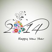stock photo of happy new year 2014  - Happy New Year 2014 celebration background with stylish text and floral decorated gift box on grey background - JPG