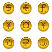 foto of shekel  - Golden money buttons icons with currency signs - JPG
