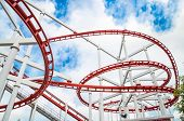 stock photo of funfair  - The roller coaster track structure isolated on white background - JPG