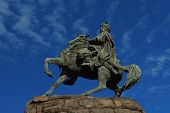 picture of hetman  - Bohdan Khmelnytsky monument against blue sky on Sofia Square in Kiev - JPG