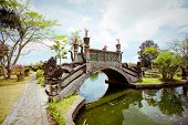 pic of fountain grass  - Tirtagangga water palace on Bali island Indonesia - JPG