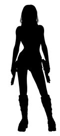 foto of matron  - Woman standing and holding two guns silhouette - JPG