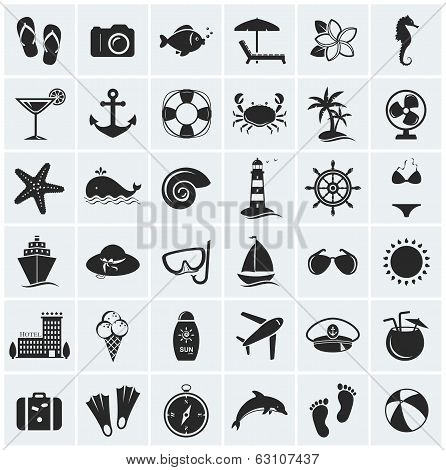 Set Of Sea And Beach Icons. Vector Illustration. poster
