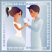 Card with love couple  designed for wedding invitation.