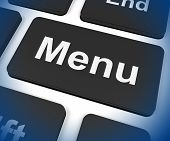 Menu Keys Shows Ordering Food Menus Online