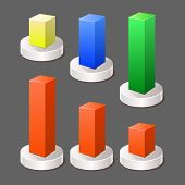 Modern Abstract 3d Chart Infographic Color Elements. Vector