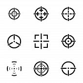 pic of crosshair  - Vector balck crosshair icons set white background - JPG