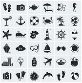 stock photo of palm  - Set of holidays sea and beach icons - JPG