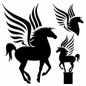 stock photo of pegasus  - pegasus silhouette set  - JPG