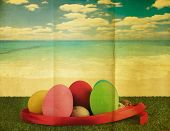 foto of ester  - Ester eggs with retro grunge style for background - JPG