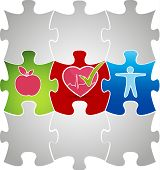 picture of atherosclerosis  - Healthy living puzzle concept - JPG