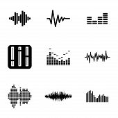 foto of beat  - Vector black music soundwave icons set white background - JPG