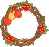 pic of rowan berry  - autumn wreath with rowan berries and apples - JPG