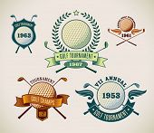 stock photo of shield  - Set of vintage styled golf tournament labels - JPG