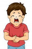 image of crying boy  - Illustration of a Boy Crying in Pain While Clutching His Stomach - JPG