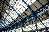 Architectural closeup of ceiling (roof) of Brighton victorian train station in England