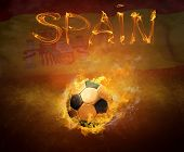 Hot soccer ball in fires flame, Spain national team