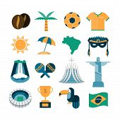 image of waterfalls  - set of vector Brazil icons - JPG