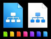 Diagram Icons on Colorful Paper Document Collection