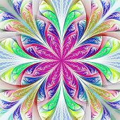 Beautiful Multicolor Fractal Flower. Computer Generated Graphics.