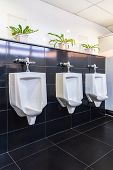 stock photo of urination  - Closeup of three white urinals in men bathroom - JPG