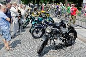Retro Motorcycles Close-up On Display Outdoors In Lvov