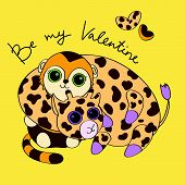 Postcard for Valentines Day with giraffe and monkey