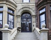 stock photo of brownstone  - Views of classic brownstones - JPG