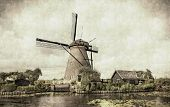 Ancient windmill in Kinderdijk Holland