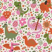 Cute dinosaurs in cartoon vector seamless pattern. Seamless pattern can be used for wallpapers, patt