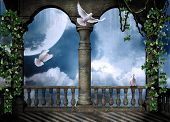 stock photo of moon-flower  - View of a castle balcony and a beautiful sky with a big moon and doves flying - JPG
