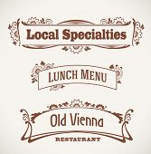 Set of vintage styled restaurant labels. Editable vector illustration.