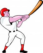 stock photo of hitter  - Illustration of an american baseball player batter hitter batting swinging bat done in cartoon style isolated on white background - JPG