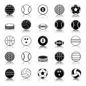 stock photo of cricket ball  - Vector set of balls and sports equipment - JPG
