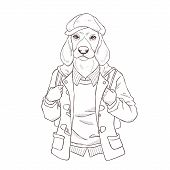 Fashion Illustration Of Dog, Black And White Line