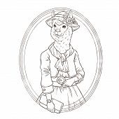 image of alpaca  - retro fashion hand draw vector illustration of alpaca black and white line - JPG