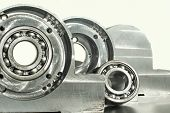 stock photo of mechanical engineer  - Mounted roller bearing unit CNC technology - JPG