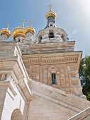 image of church mary magdalene  - Church of Saint Mary Magdalene at Olives Mount of Jerusalem Israel - JPG