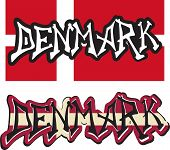 Denmark word graffiti different style. Vector