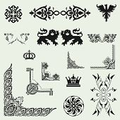 Vector Set Of Decorative Floral Elements..