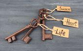 Keys to happiness, Conceptual photo. On color wooden background poster