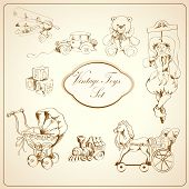 foto of teddy  - Decorative retro kids toys sketch icons set of airplane car teddy bear puppet isolated vector illustration - JPG