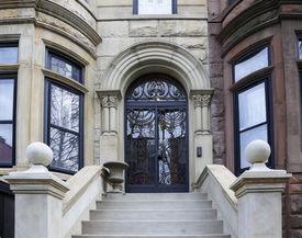 stock photo of brownstone  - Views of classic brownstones - JPG