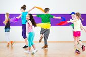picture of children group  - Children dancing modern group choreography with scarfs - JPG