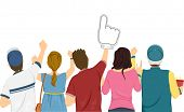 pic of pre-adolescent girl  - Illustration Featuring a Group of Sports Fans Cheering for Their Team - JPG