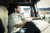 image of truck-cabin  - Portrait of a truck driver - JPG